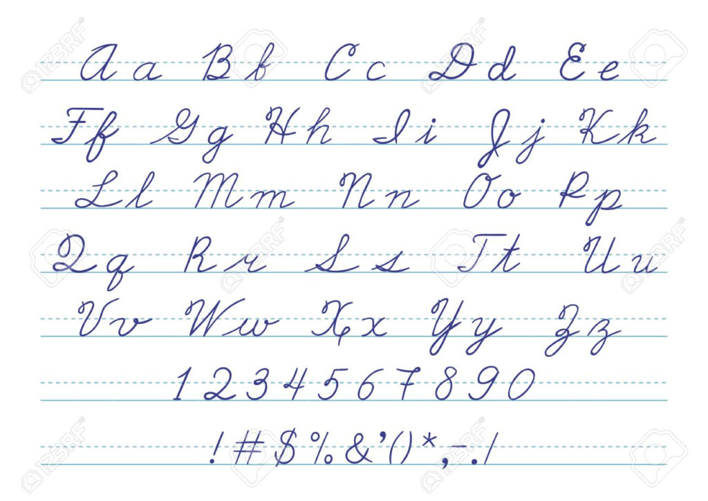 Hand Drawn Uppercase Calligraphic Alphabet And Number. Cursive..