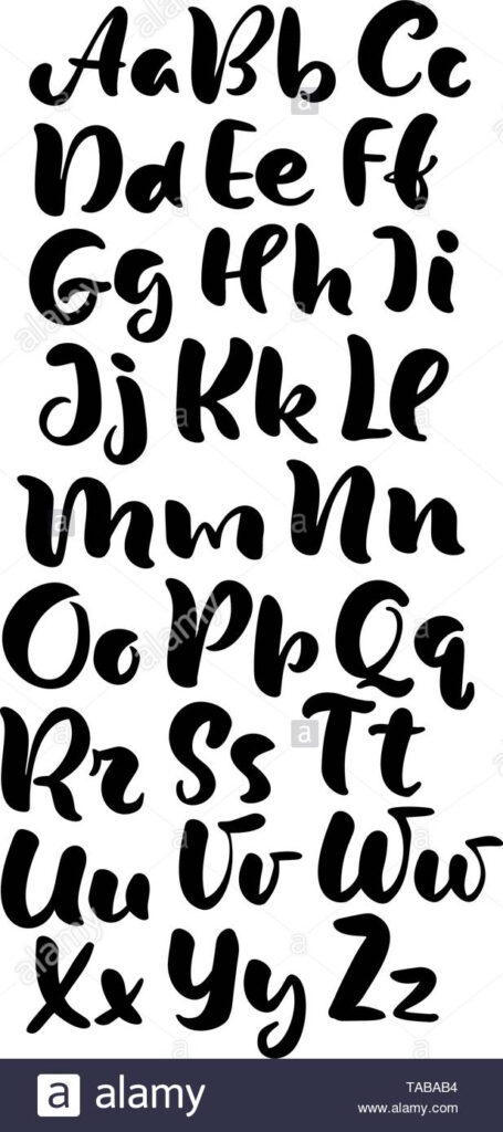 Hand Lettering Alphabet Design, Handwritten Brush Script