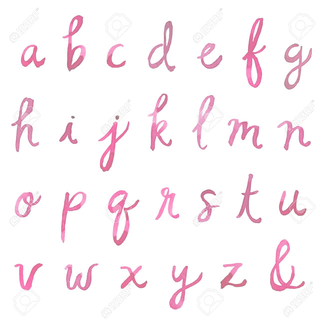 Hand Painted Watercolor Alphabet. Watercolor Font Letters. Cursive..