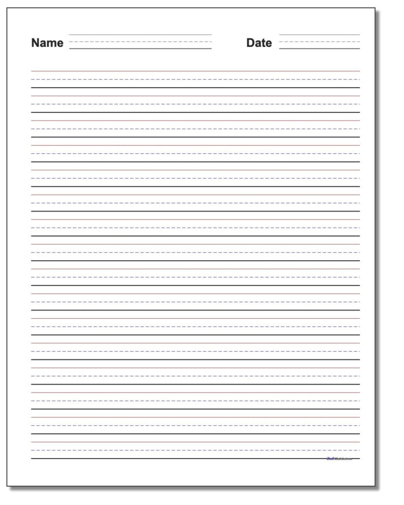 Handwriting Paper Pertaining To Name Tracing Worksheet With Blank Lines