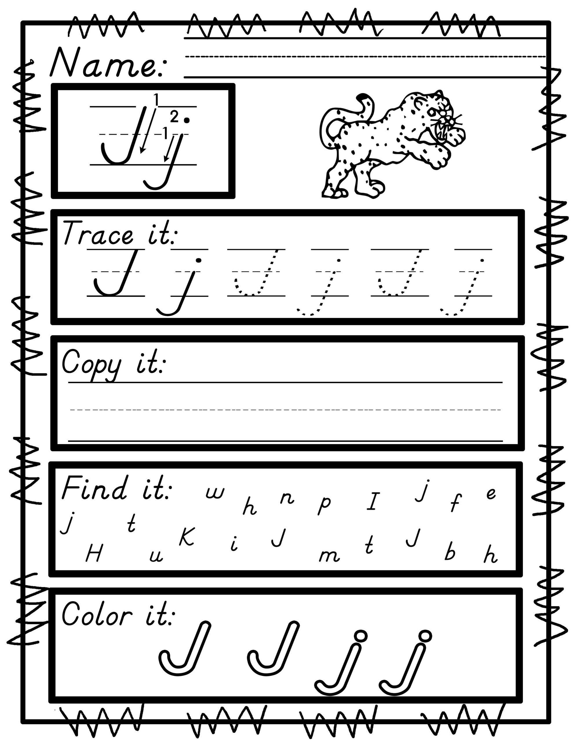 Handwriting Practice A-Z No Prep Print And Go D'nealian for D'nealian Name Tracing