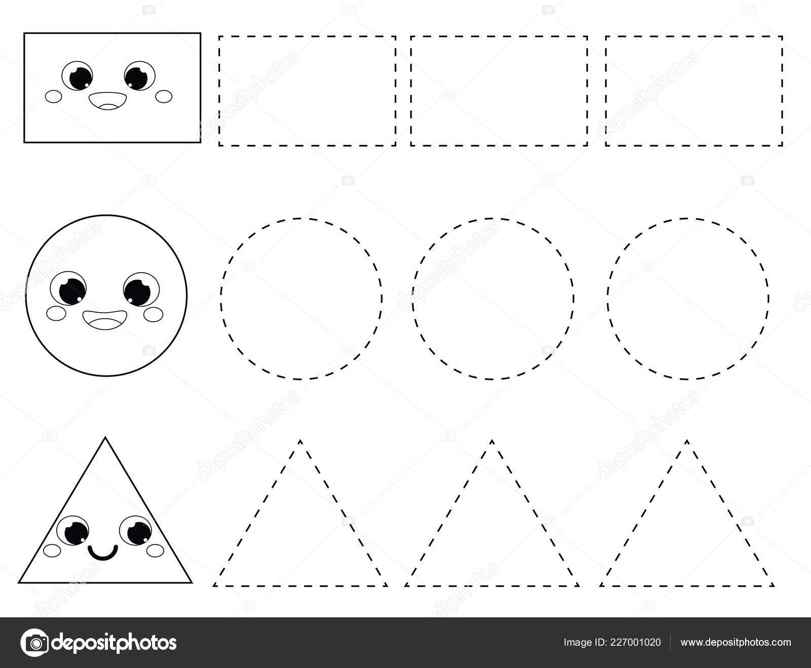 Handwriting Practice Sheet. Educational Children Game, Printable Worksheet  For Kids. Tracing Lines. Learning Geometric Shapes For Toddlers. Rectangle,