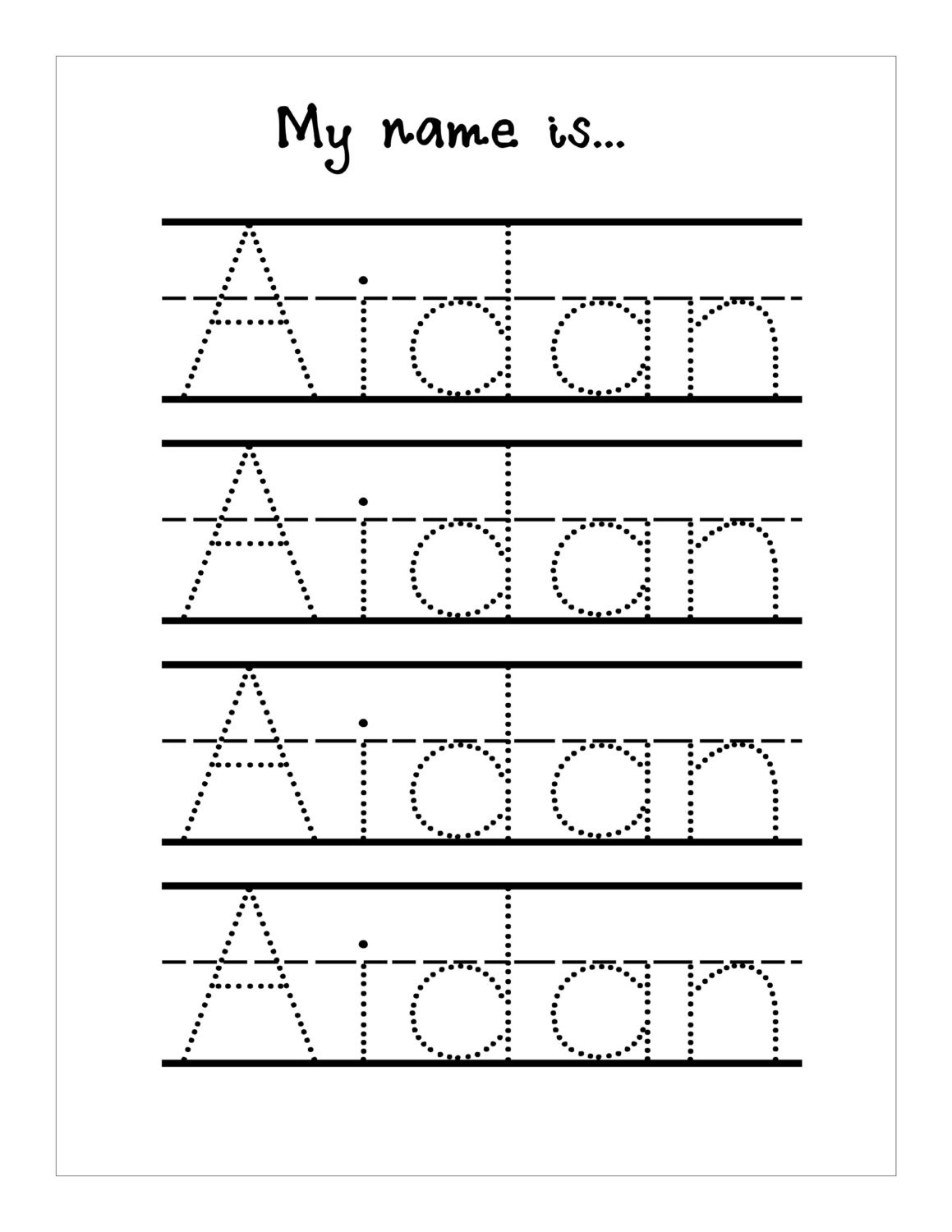 Handwriting Practice With Trace Name Worksheets | Activity for Name Letter Tracing Sheets