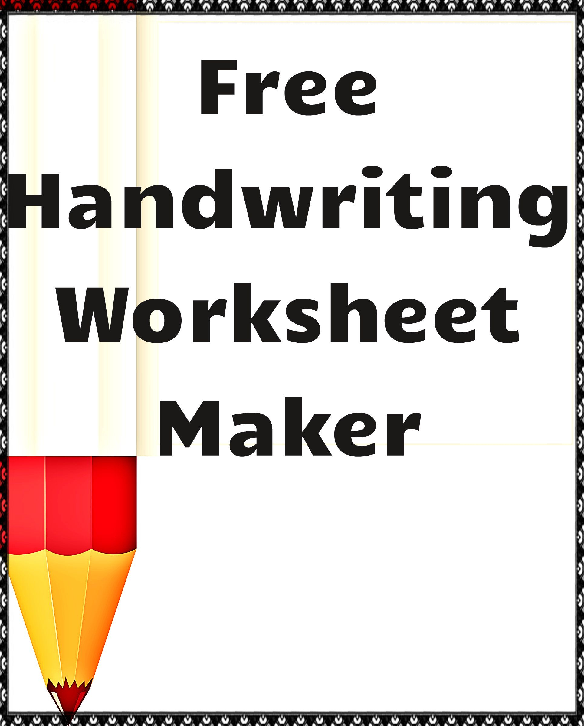 Handwriting Worksheet Maker, Free Handwriting Worksheets throughout Letter Tracing Maker