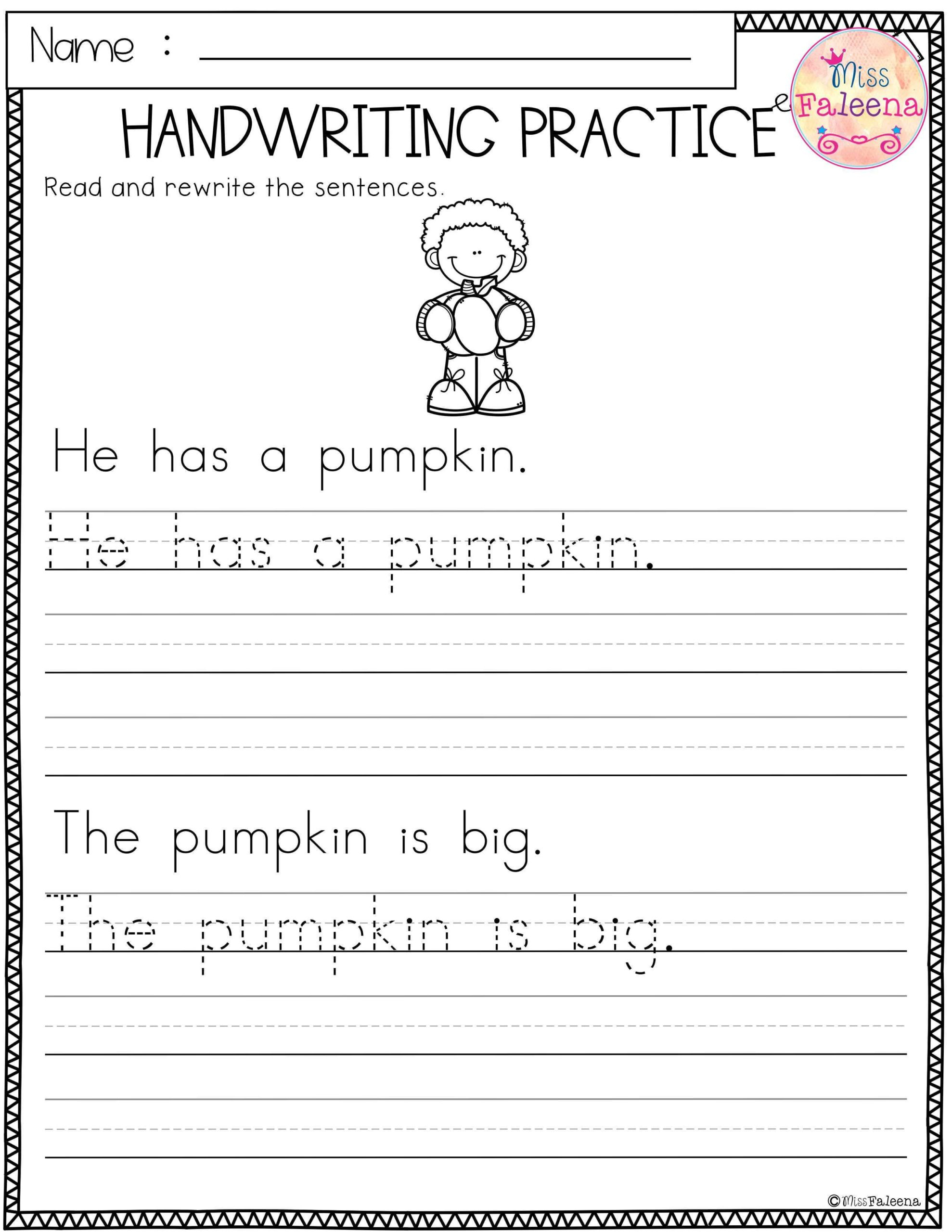 Handwriting Worksheet Maker Kindergarten Printable