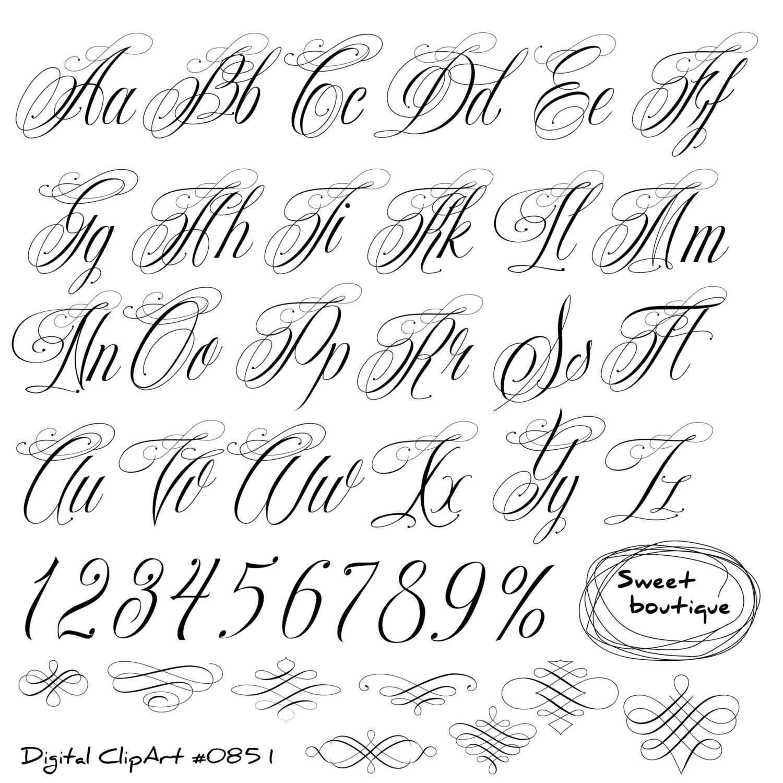 Handwritten Alphabet Calligraphy Clip Art English Cursive