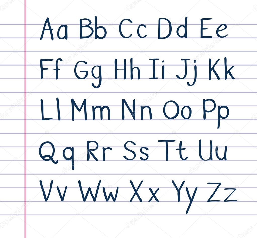 Handwritten Alphabet On Lined Paper 13799553