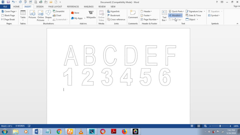 How To Make Dashed Letters And Number Tracing In Microsoft Word 2013 Using Wordart Throughout Name Tracing Font On Word
