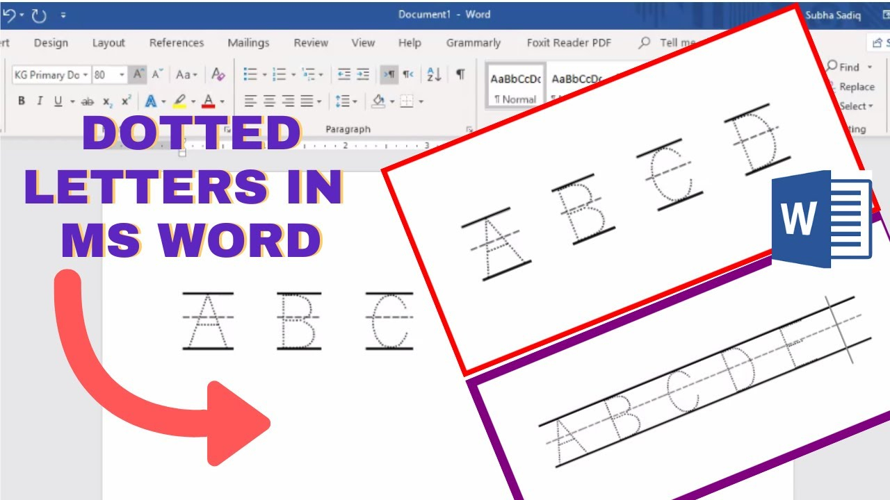 How To Make Tracing Letters In Microsoft Word | Dotted Letters In Ms Word with Name Tracing Practice With Red And Blue Lines