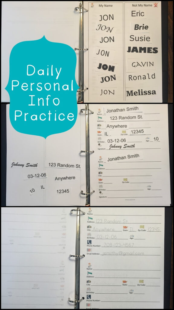 How To Teach Students Their Personal Information   Breezy Throughout Tracing Name Iep Goal