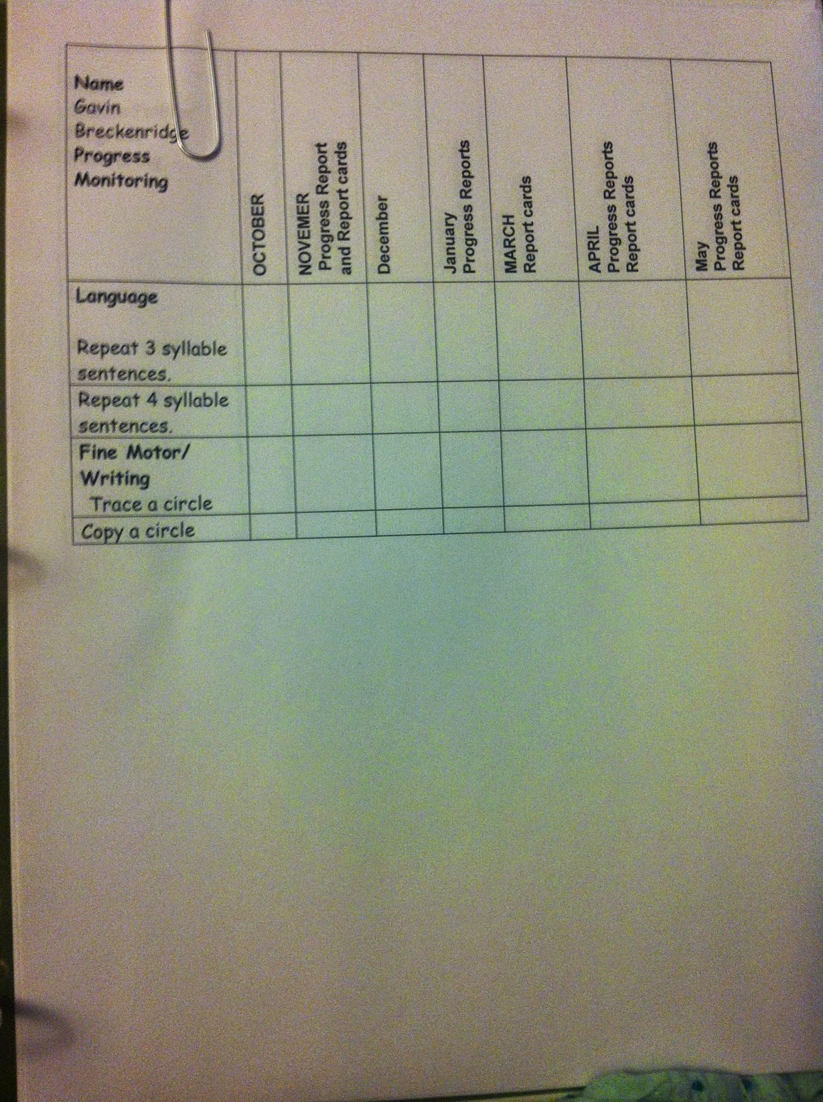 Iep Progress Monitoring | Fun In Ecse intended for Tracing Name Iep Goal