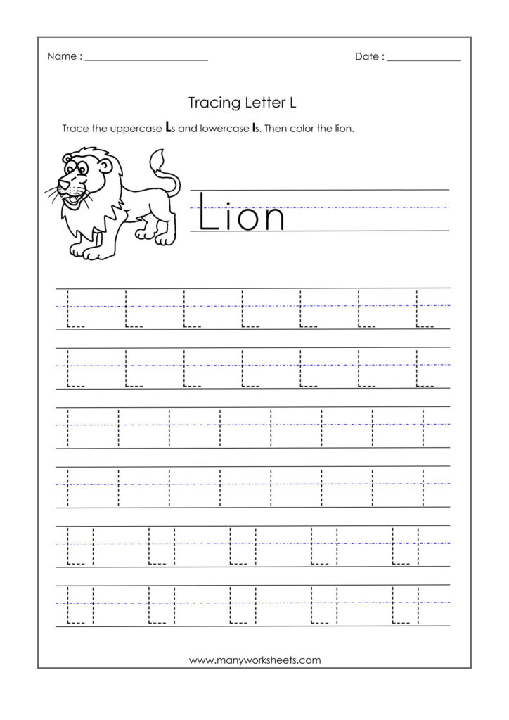 Incredible Letter Tracing Worksheets Image Ideas Inside Letter L Tracing Worksheets Preschool