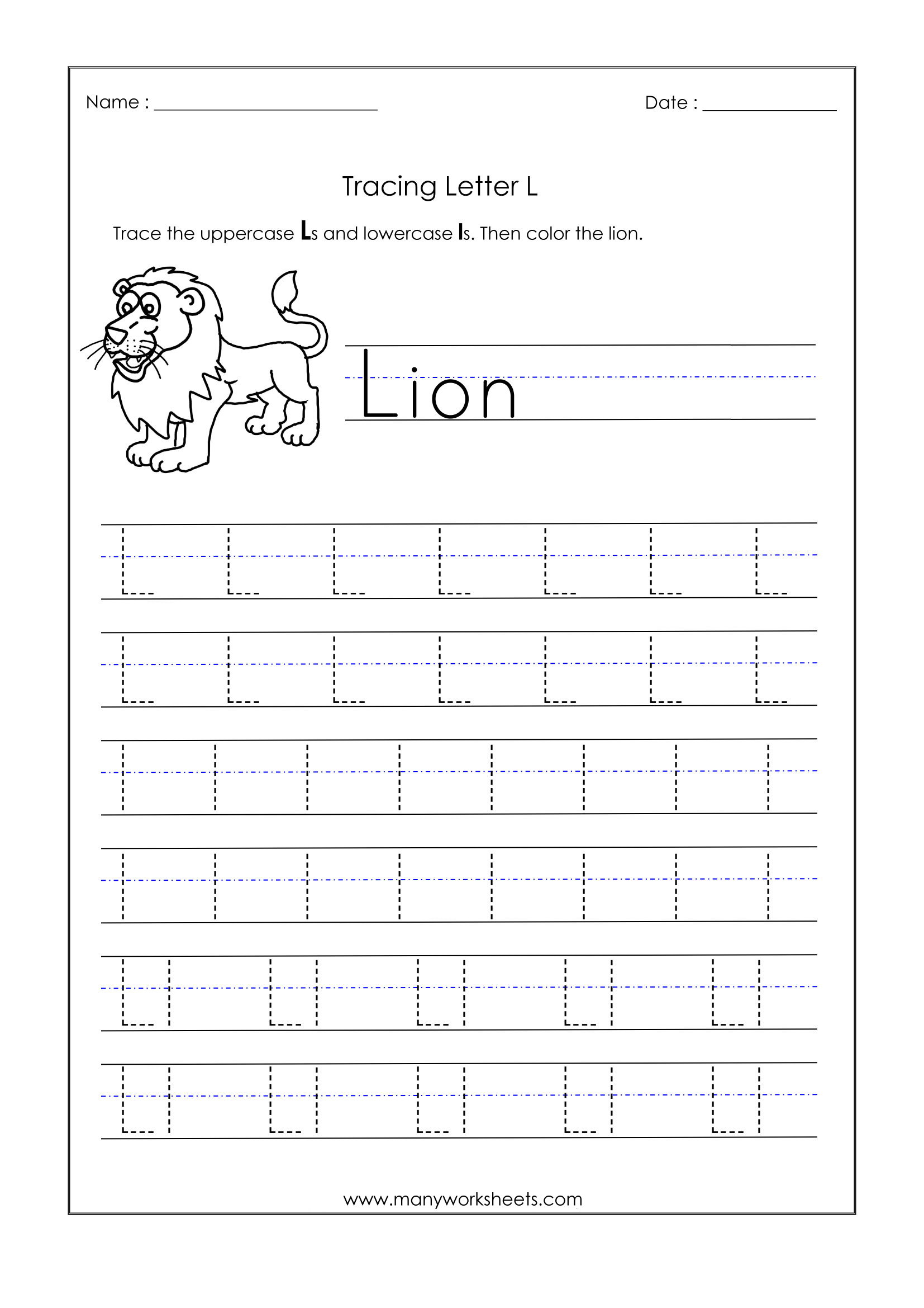 Incredible Letter Tracing Worksheets Image Ideas with Letter L Tracing Preschool