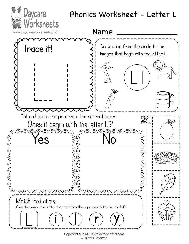 Incredible Preschool Worksheets Alphabet Beginning Sounds pertaining to Letter L Worksheets Cut And Paste