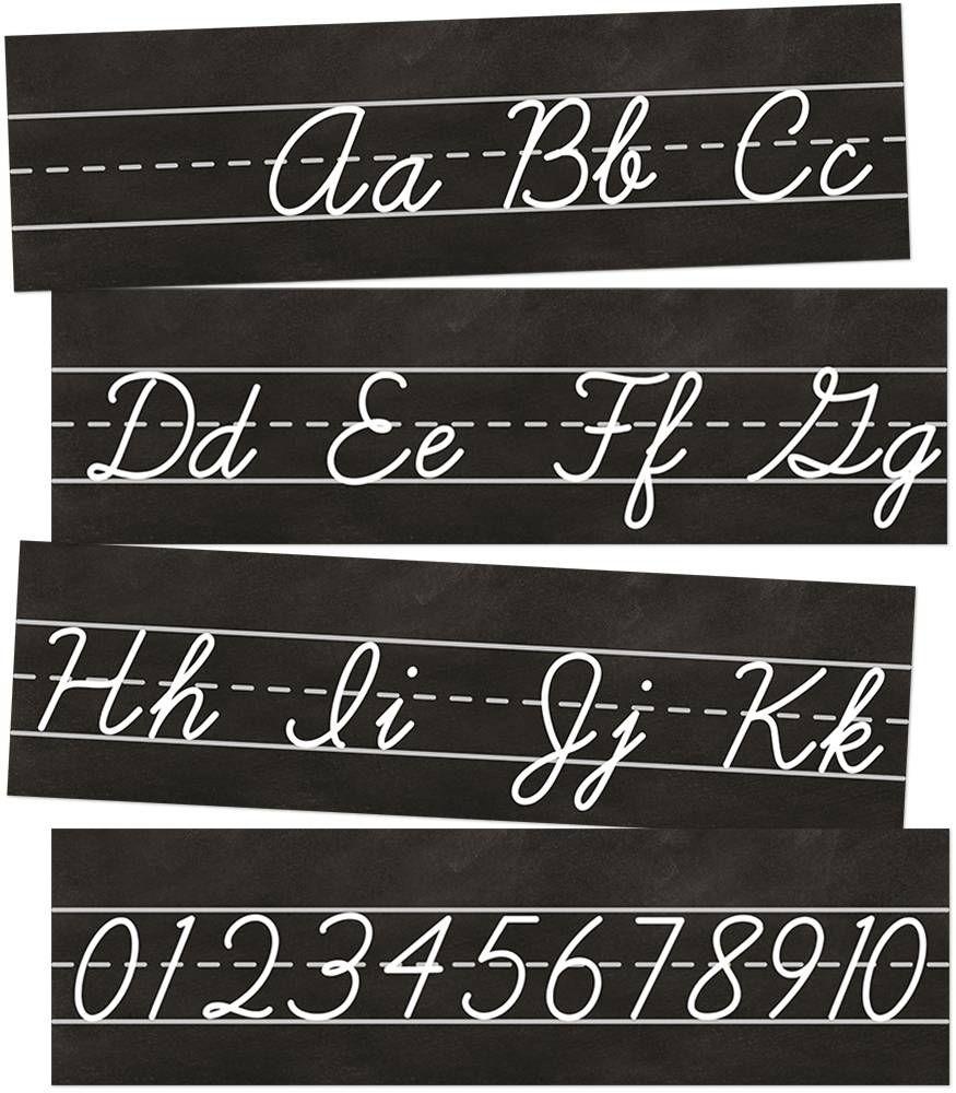 Industrial Chic Cursive Alphabet Line Printable Bulletin