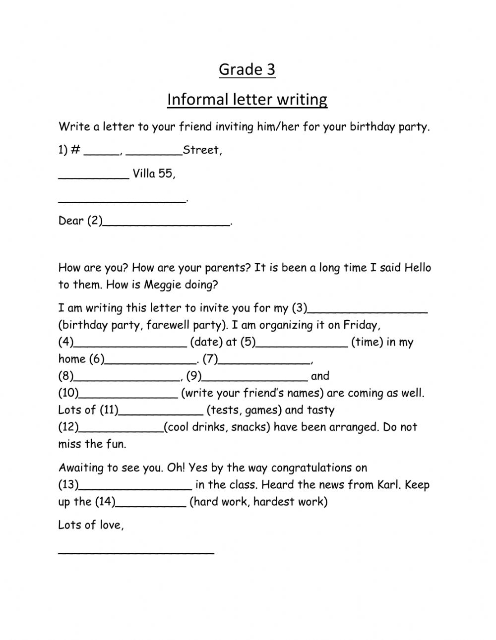 Informal Letter - Interactive Worksheet inside Letter Writing Worksheets For Grade 4