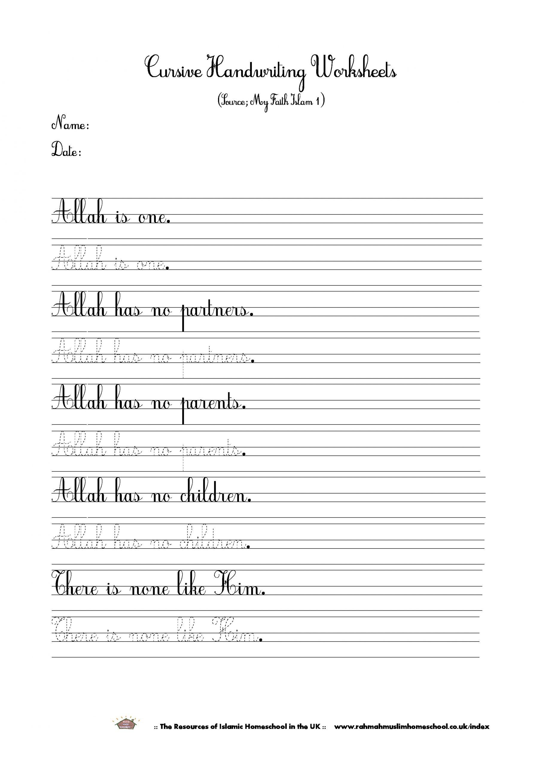 Islamic Cursive Handwriting Worksheet About Tawheedtauhid