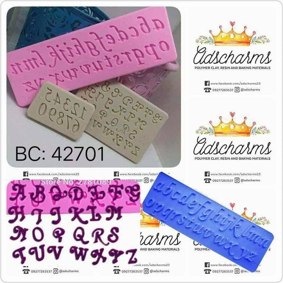 Italic Alphanumeric Silicone Mold Set 3S | Cursive Alpha | Letters Mold |  Bc42701