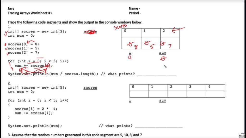 Java Tracing Arrays Worksheet 1