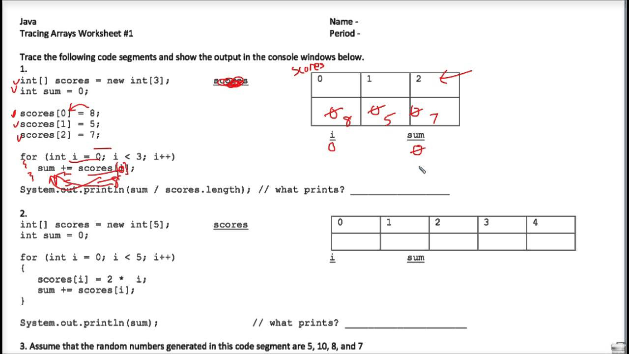 Java Tracing Arrays Worksheet 1
