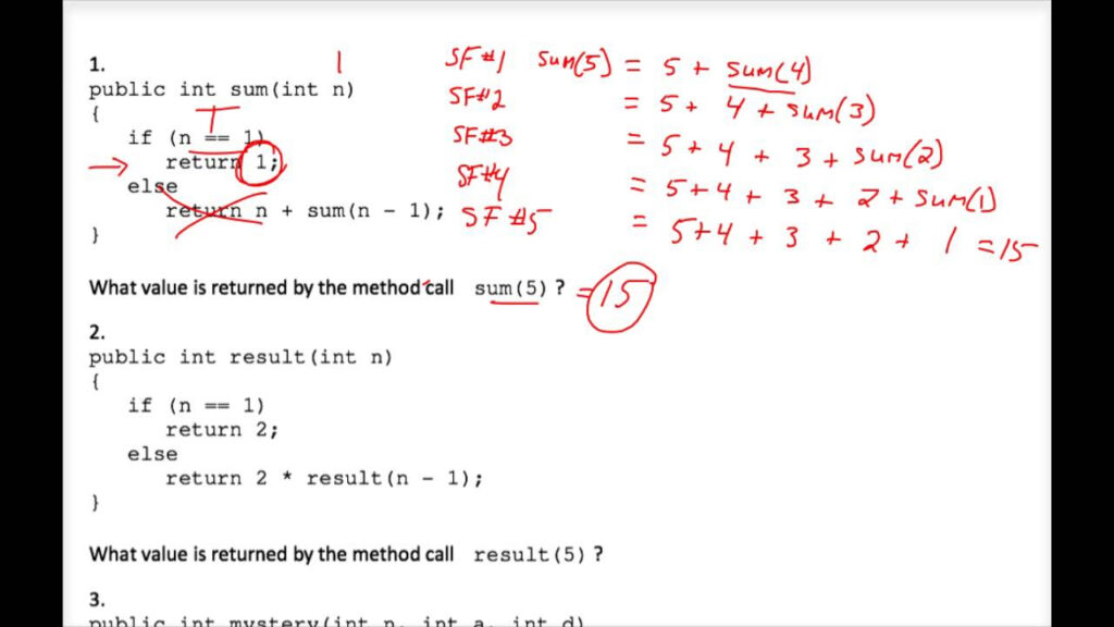 Java Tracing Recursion Worksheet #1