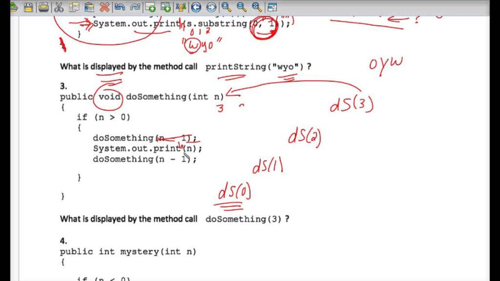 Java Tracing Recursion Worksheet #2