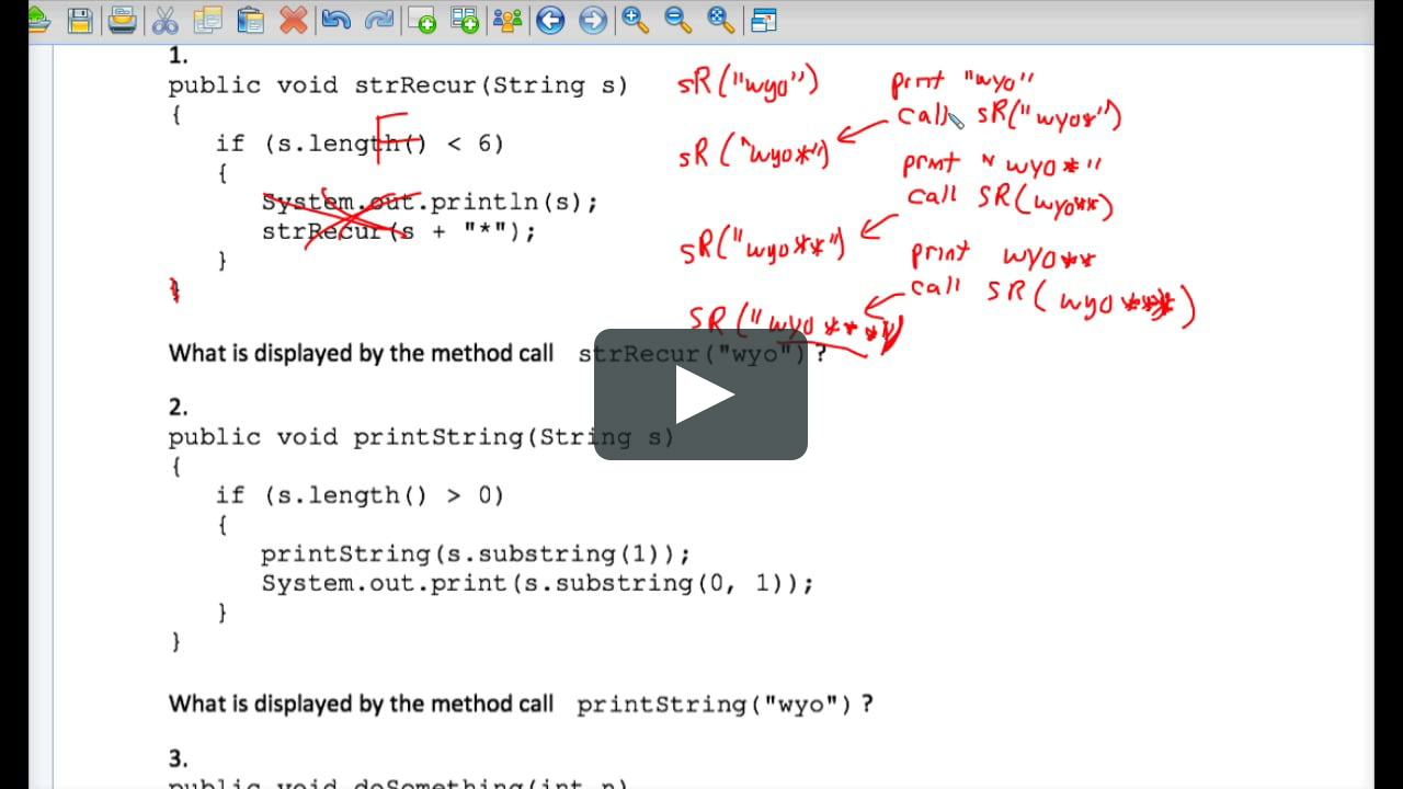 Java Tracing Recursion Worksheet #2 On Vimeo