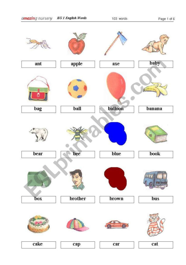 Kg1 English Words   Thumbs 1   Esl Worksheetmaxxin With Regard To Alphabet Worksheets For Kg1