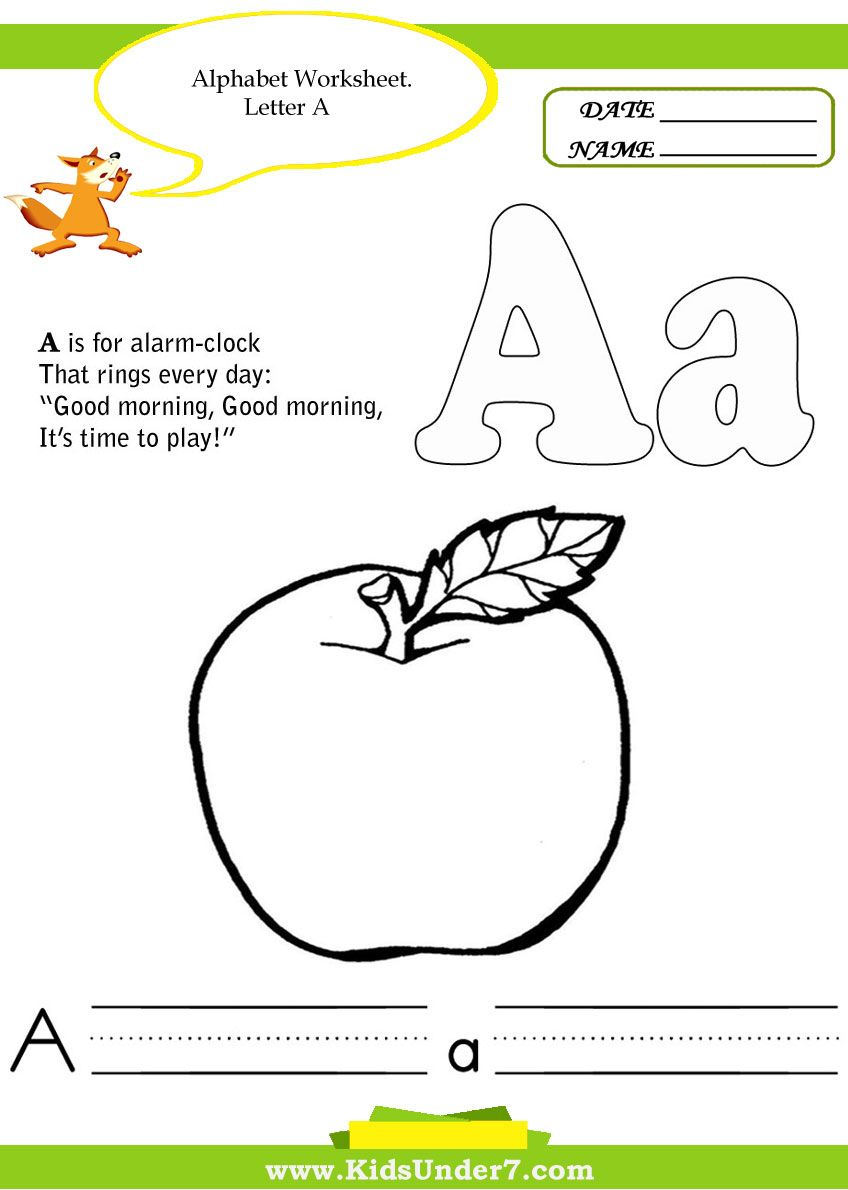 Kids Under 7 - A Whole Range Of Fun Printable Activities For intended for Alphabet Worksheets For 7 Year Olds