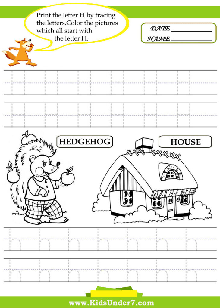 Kids Under 7: Alphabet Worksheets.trace And Print Letter H For H Letter Tracing