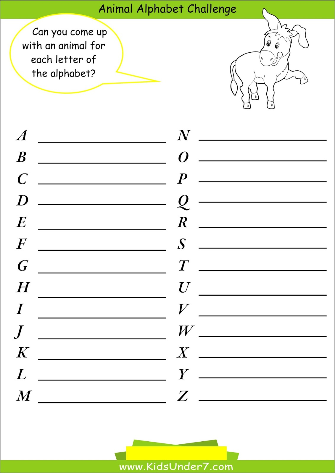 Kids Under 7: Animal Alphabet Challenge regarding Alphabet Challenge Worksheets