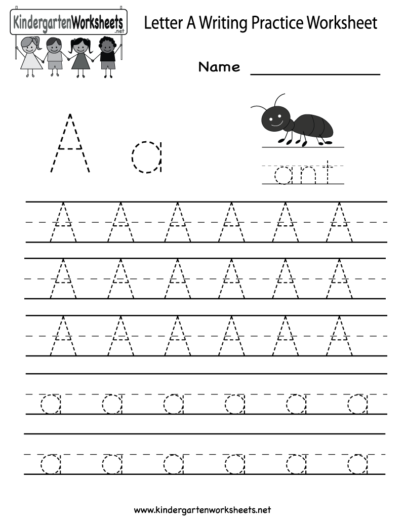 Kindergarten Letter A Writing Practice Worksheet Printable intended for Alphabet Worksheets Letter A
