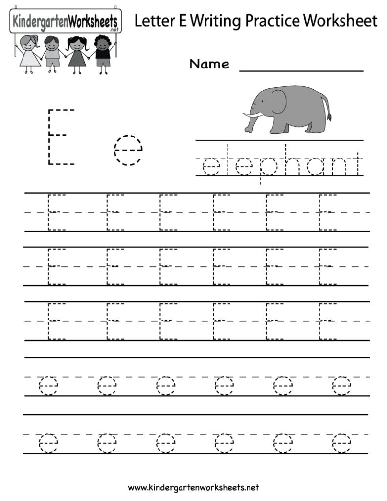 Kindergarten Letter E Writing Practice Worksheet Printable In E Letter Tracing Worksheet