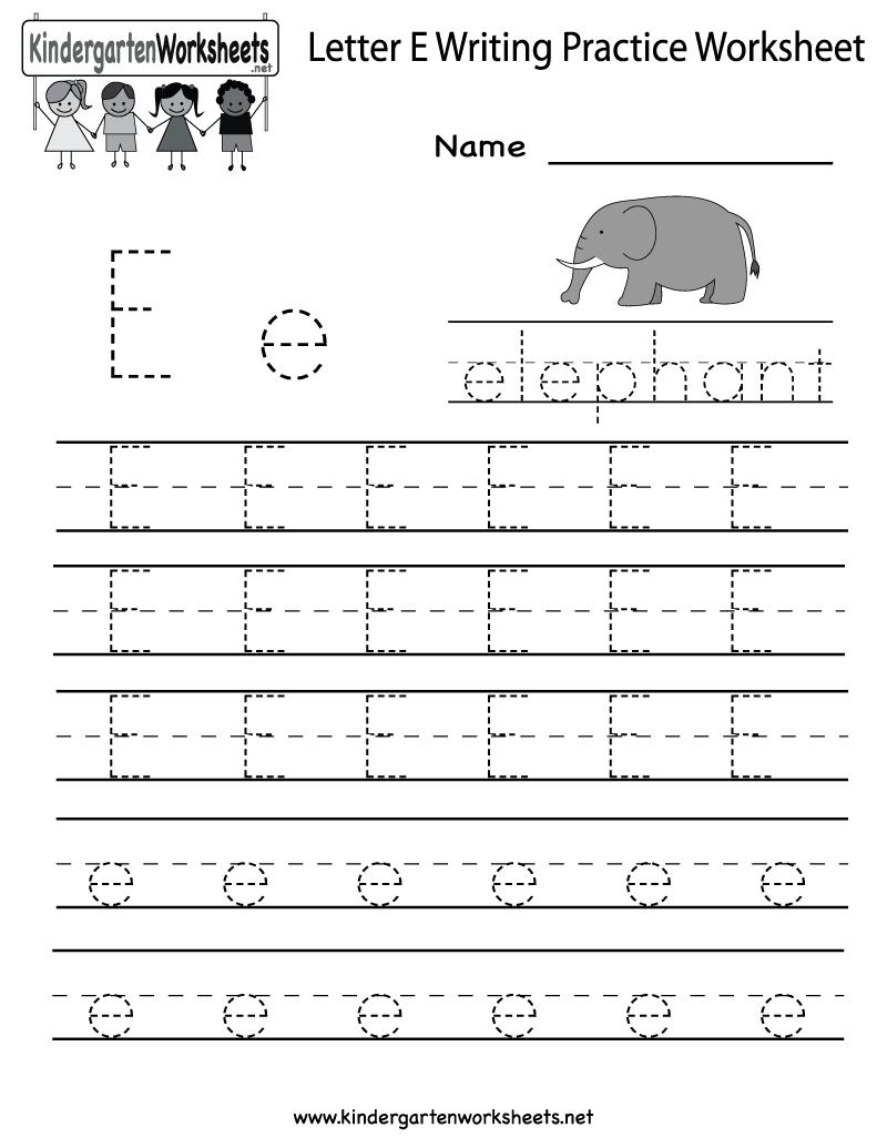 Kindergarten Letter E Writing Practice Worksheet Printable throughout E Letter Tracing