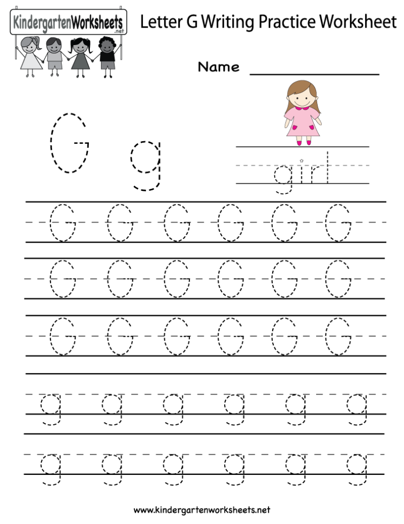 Kindergarten Letter G Writing Practice Worksheet Printable With G Letter Worksheets