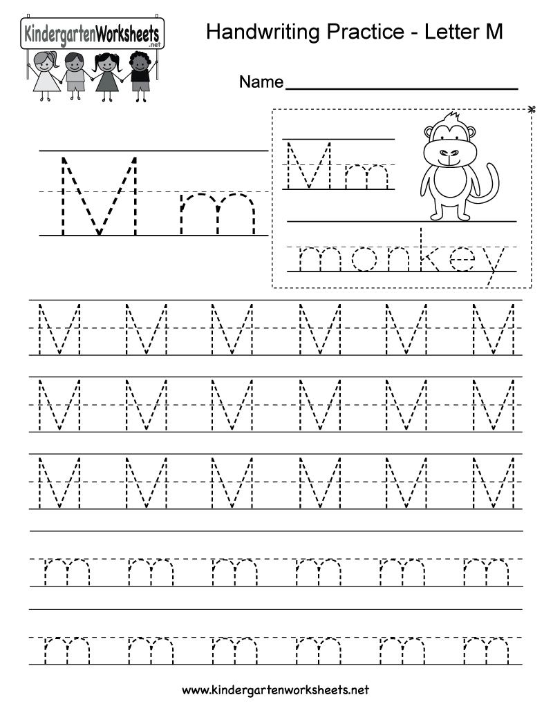 Kindergarten Letter M Writing Practice Worksheet. This