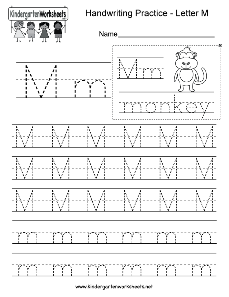 Kindergarten Letter M Writing Practice Worksheet. This Within Letter M Worksheets For Kindergarten Free