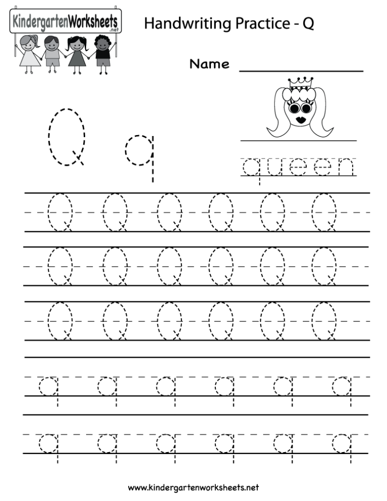 Kindergarten Letter Q Writing Practice Worksheet Printable Intended For Letter Tracing Q