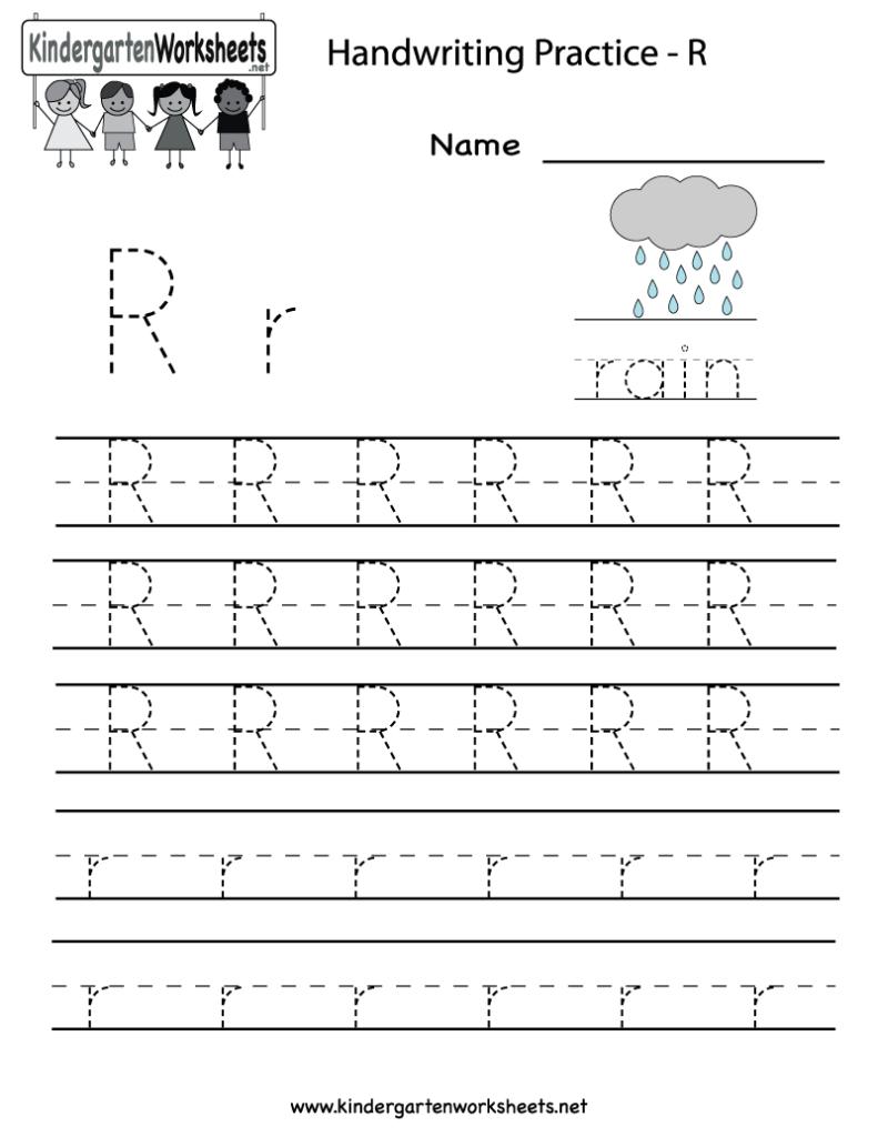 Kindergarten Letter R Writing Practice Worksheet Printable Throughout Alphabet Worksheets Pdf For Kindergarten