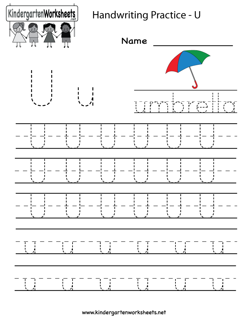 Kindergarten Letter U Writing Practice Worksheet Printable throughout Letter U Tracing And Writing