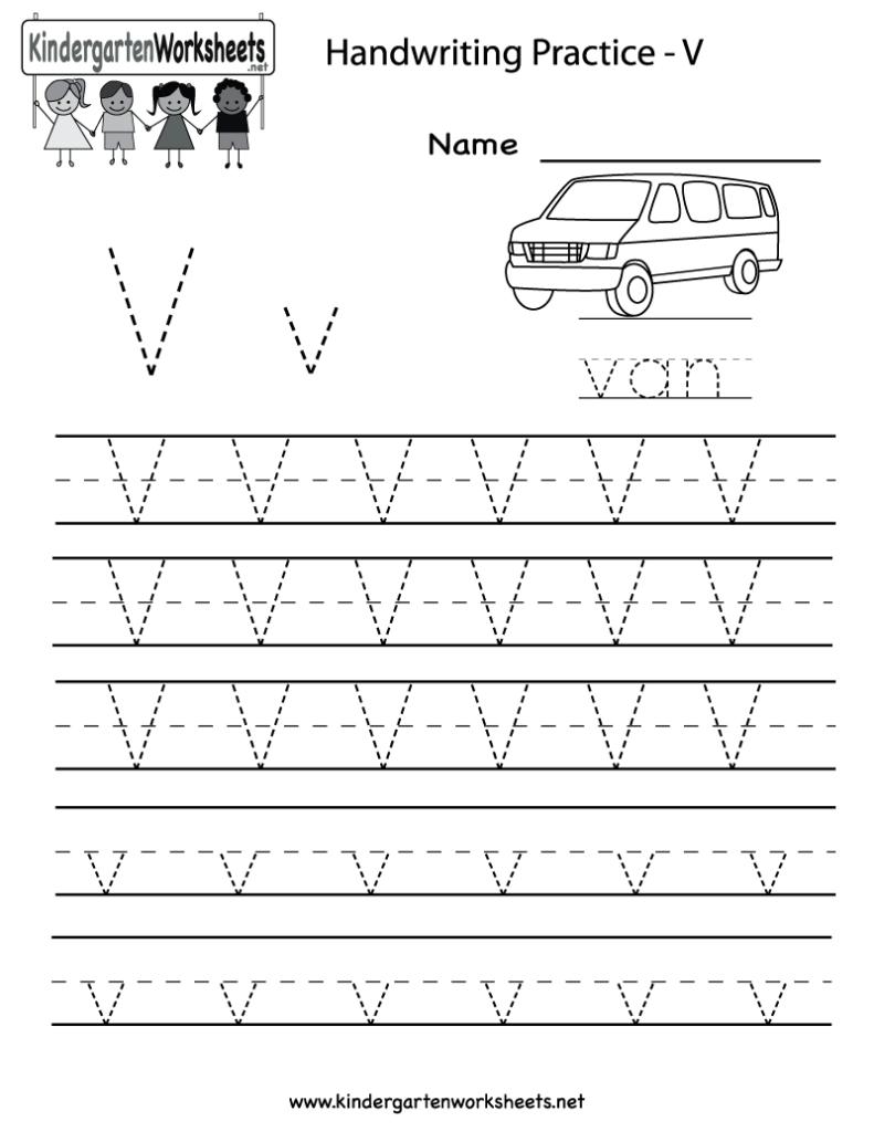 Kindergarten Letter V Writing Practice Worksheet Printable For Letter V Tracing Practice