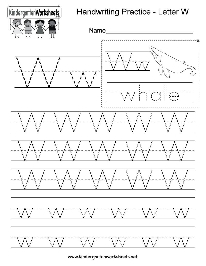 Kindergarten Letter W Writing Practice Worksheet Printable
