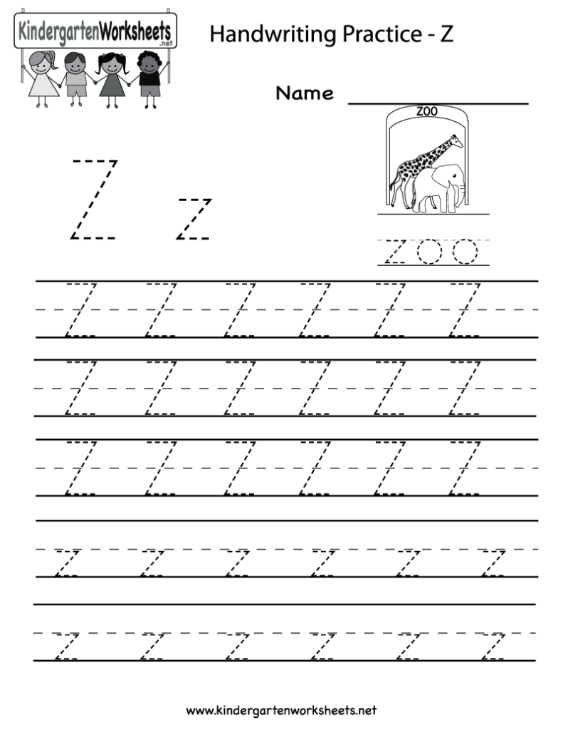 Kindergarten Letter Z Writing Practice Worksheet Printable Inside Letter Z Tracing Preschool