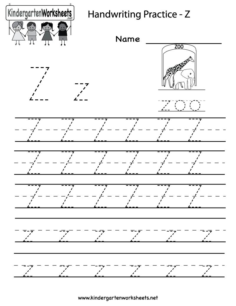 Kindergarten Letter Z Writing Practice Worksheet Printable pertaining to Letter Z Tracing Sheet
