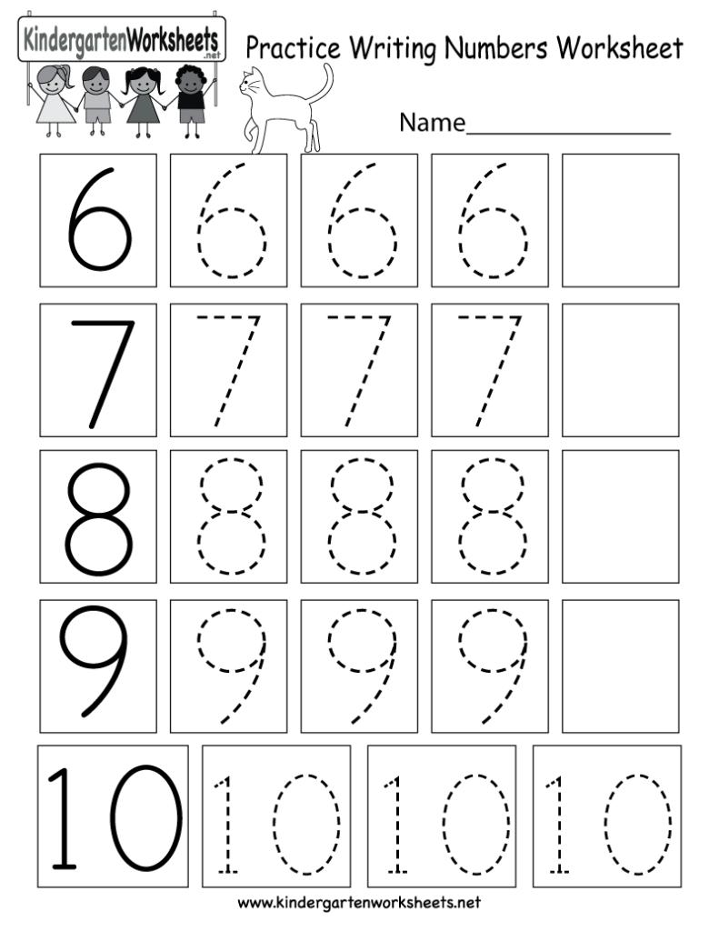 Kindergarten Practice Writing Numbers Worksheet Printable
