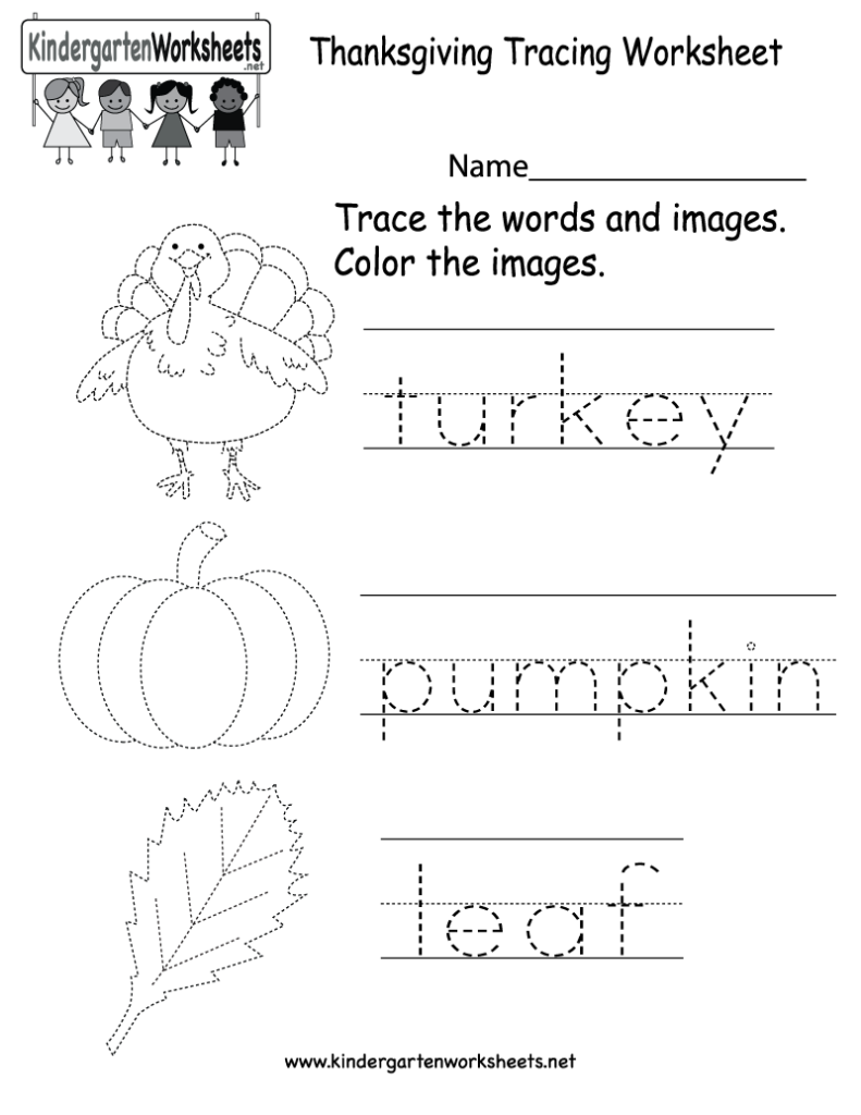 Kindergarten Thanksgiving Tracing Worksheet Printable