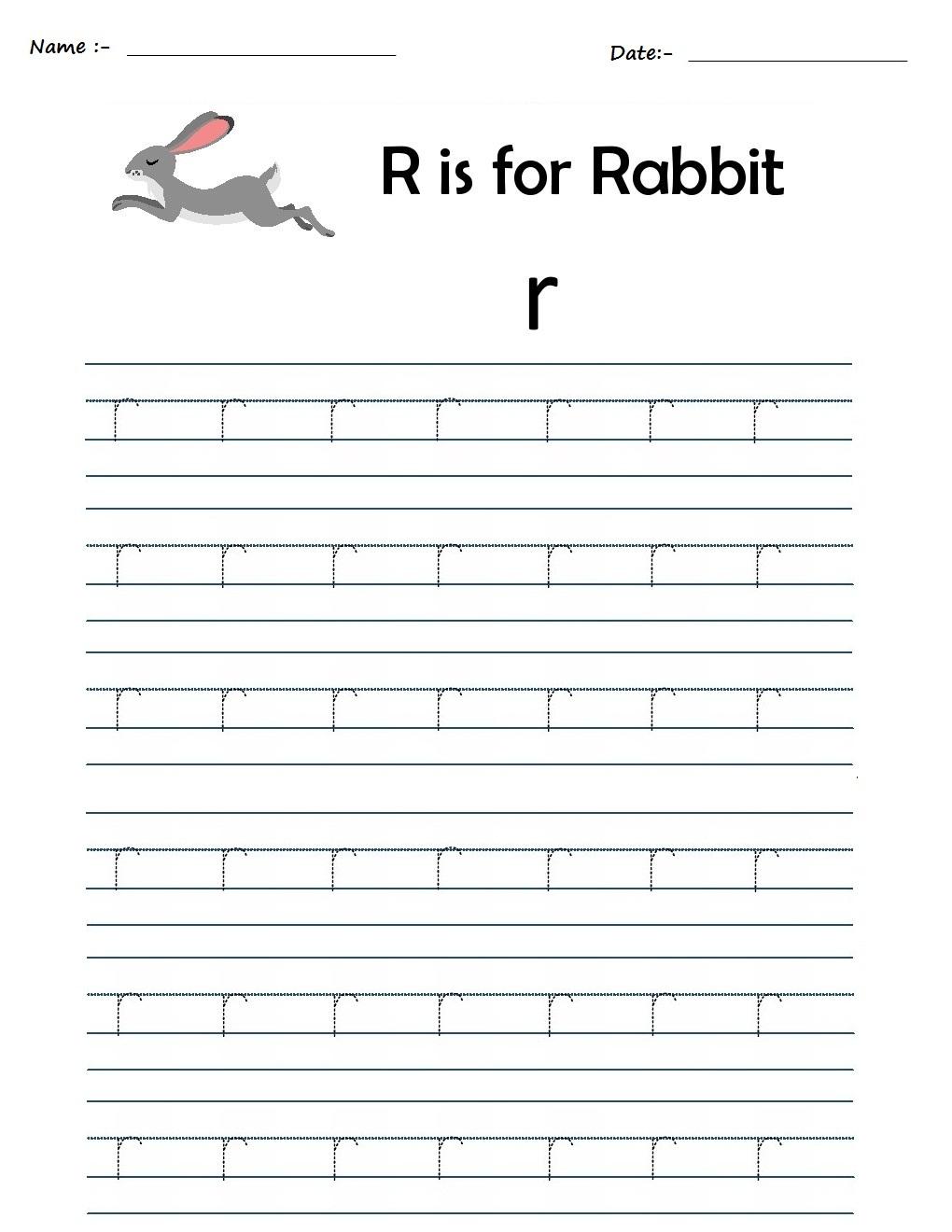 Kindergarten Worksheets: Alphabet Tracing Worksheets - R regarding Alphabet R Worksheets