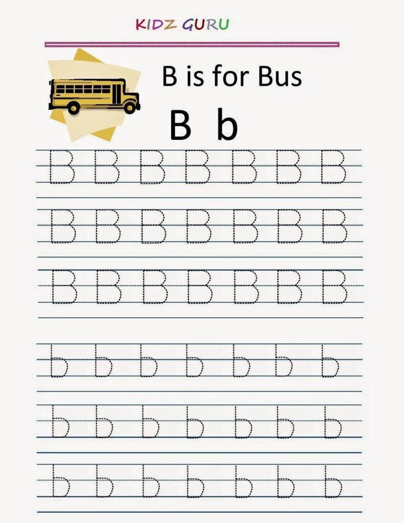 Kindergarten Worksheets: Printable Tracing Worksheet Pertaining To B Letter Tracing Worksheet