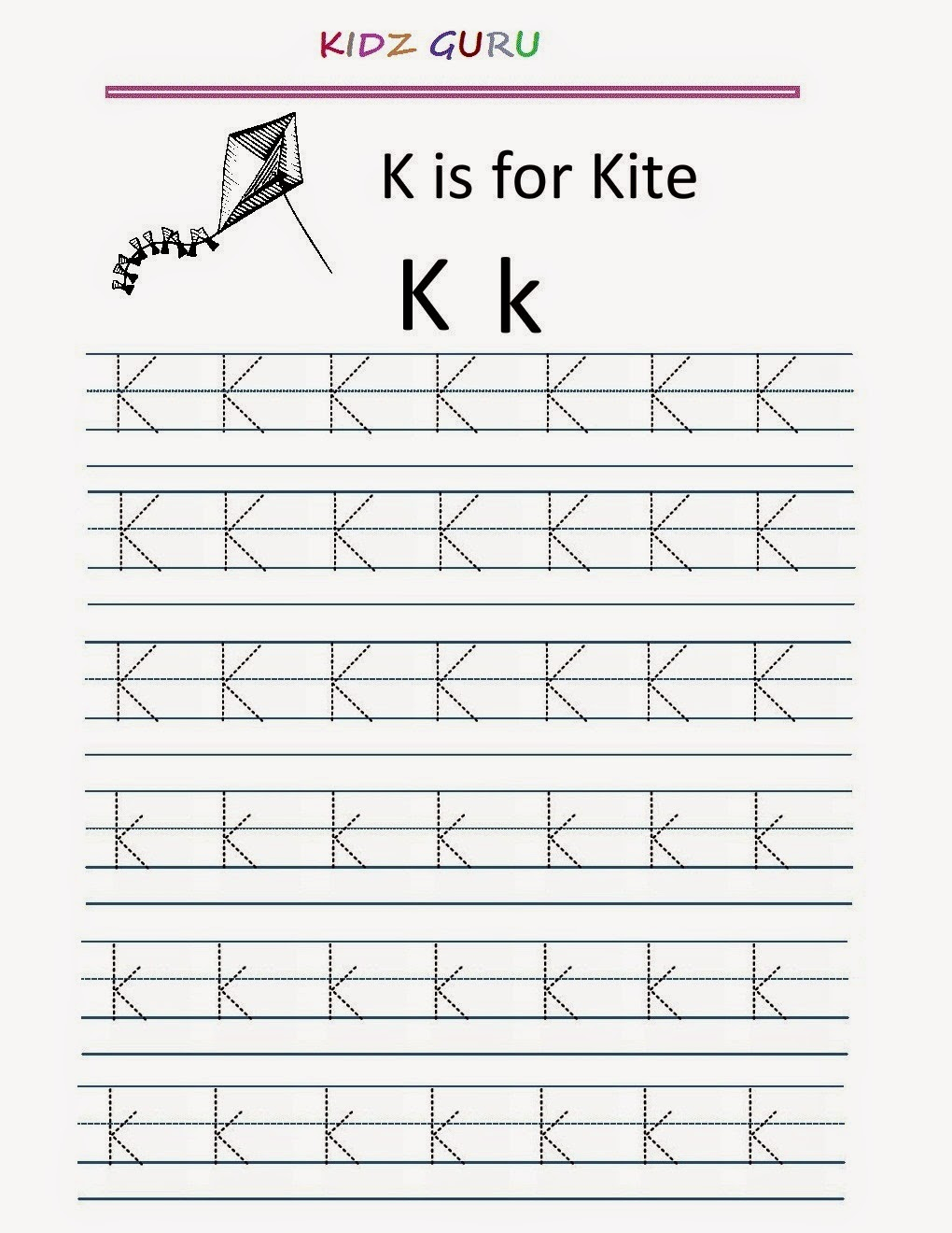 Kindergarten Worksheets: Printable Tracing Worksheet