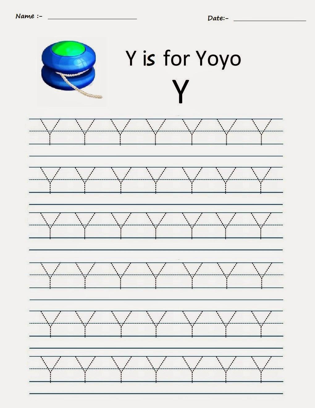 Kindergarten Worksheets: Printable Tracing Worksheets intended for Tracing Alphabet Y